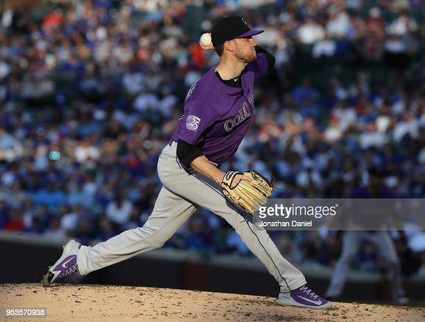 Starting pitcher Kyle Freeland of the Colorado Rockies delivers the ball against the Chicago Cubs at Wrigley Field on April 30 2018 in Chicago...