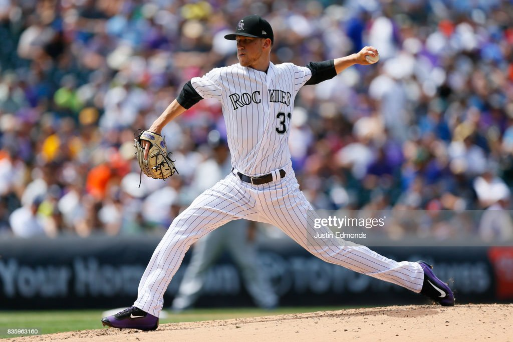Starting pitcher Kyle Freeland #31 of the Colorado Rockies delivers to home plate during the fourth inning against the Milwaukee Brewers at Coors Field on August 20, 2017 in Denver, Colorado.