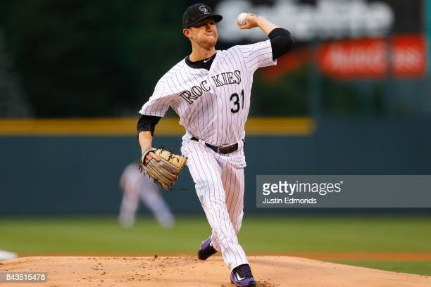 Starting pitcher Kyle Freeland of the Colorado Rockies delivers to home plate during the first inning against the Colorado Rockies at Coors Field on...
