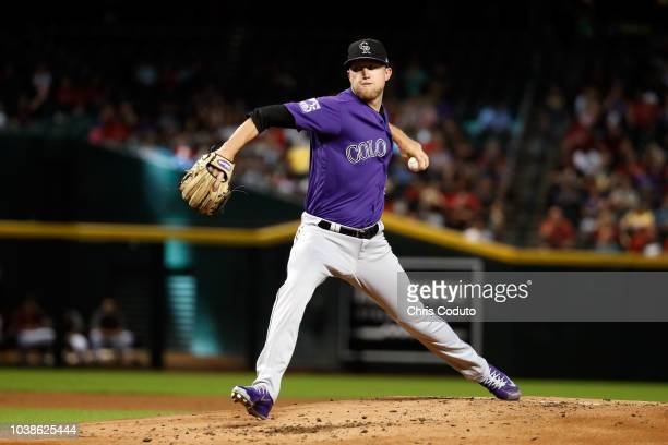 Starting pitcher Kyle Freeland of the Colorado Rockies pitches during the bottom of the first inning against the Arizona Diamondbacks at Chase Field...
