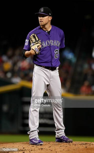 Starting pitcher Kyle Freeland of the Colorado Rockies pitches during the bottom of the first inning at Chase Field against the Arizona Diamondbacks...