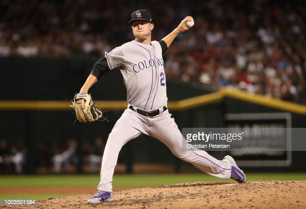 Starting pitcher Kyle Freeland of the Colorado Rockies pitches against the Arizona Diamondbacks during the fourth inning of the MLB game at Chase...
