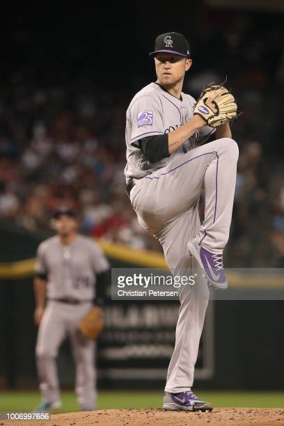 Starting pitcher Kyle Freeland of the Colorado Rockies pitches against the Arizona Diamondbacks during the MLB game at Chase Field on July 21 2018 in...