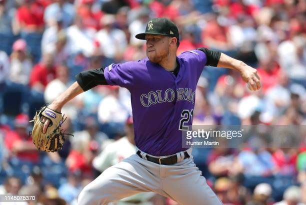Starting pitcher Kyle Freeland of the Colorado Rockies throws a pitch in the first inning during a game against the Philadelphia Phillies at Citizens...