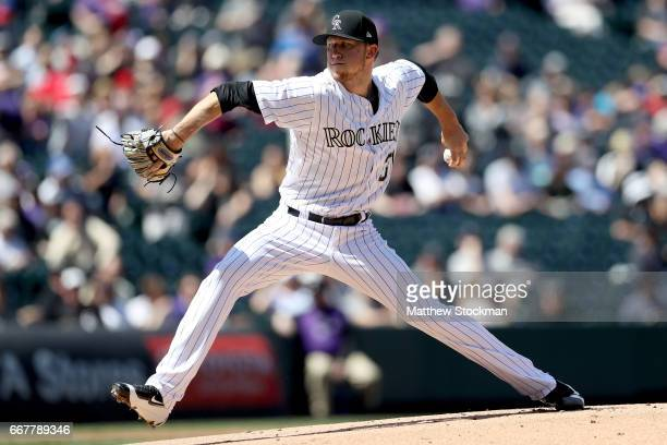 Starting pitcher Kyle Freeland of the Colorado Rockies throws against the San Diego Padres at Coors Field on April 12 2017 in Denver Colorado