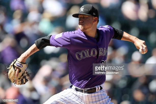 Starting pitcher Kyle Freeland of the Colorado Rockies throws in the first inning against the Arizona Diamondbacks at Coors Field on September 13...