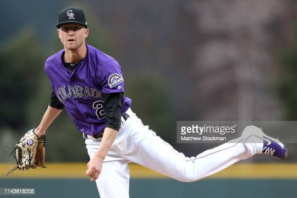 Starting pitcher Kyle Freeland of the Colorado Rockies throws in the first inning against the Philadelphia Phillies at Coors Field on April 18 2019...