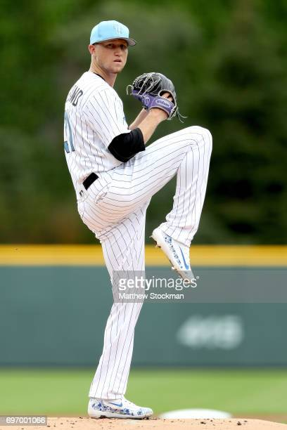 Starting pitcher Kyle Freeland of the Colorado Rockies throws in the first inning against the San Francisco Giants at Coors Field on June 17 2017 in...