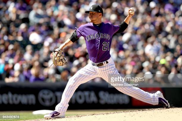 Starting pitcher Kyle Freeland of the Colorado Rockies throws in the fifth inning against the Atlanta Braves at Coors Field on April 8 2018 in Denver...