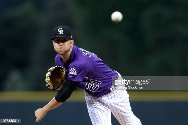 Starting pitcher Kyle Freeland of the Colorado Rockies throws in the first inning against the Milwaukee Brewers at Coors Field on May 12 2018 in...