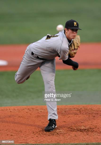 Starting pitcher Kyle Gibson of the Missouri Tigers delivers a pitch in the first inning against the Kansas State Wildcats at Tointon Stadium on...