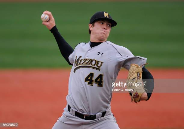Starting pitcher Kyle Gibson of the Missouri Tigers pitched a complete game to pick up a 4-3 win over the Kansas State Wildcats at Tointon Stadium on...