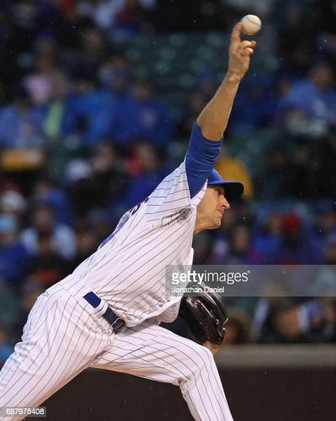 Starting pitcher Kyle Hendricks of the Chicago Cubs delivers the all against the San Francisco Giants at Wrigley Field on May 24 2017 in Chicago...