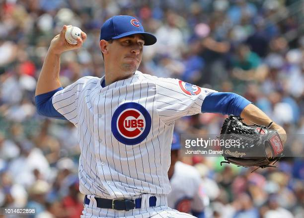 Starting pitcher Kyle Hendricks of the Chicago Cubs delivers the ball against the Washington Nationals at Wrigley Field on August 10 2018 in Chicago...