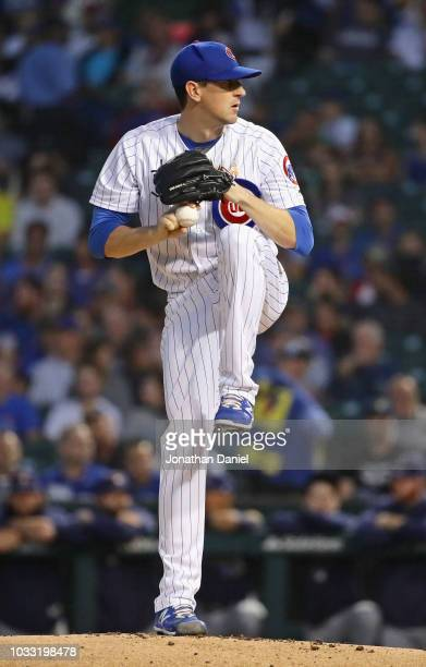 Starting pitcher Kyle Hendricks of the Chicago Cubs delivers the ball against the Milwaukee Brewers at Wrigley Field on September 12 2018 in Chicago...