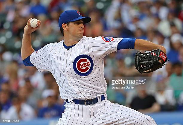 Starting pitcher Kyle Hendricks of the Chicago Cubs delivers the ball against the Texas Rangers at Wrigley Field on July 15 2016 in Chicago Illinois