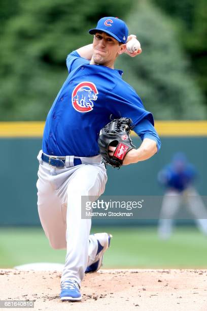 Starting pitcher Kyle Hendricks of the Chicago Cubs throws in the first inning against the Colorado Rockies at Coors Field on May 10 2017 in Denver...