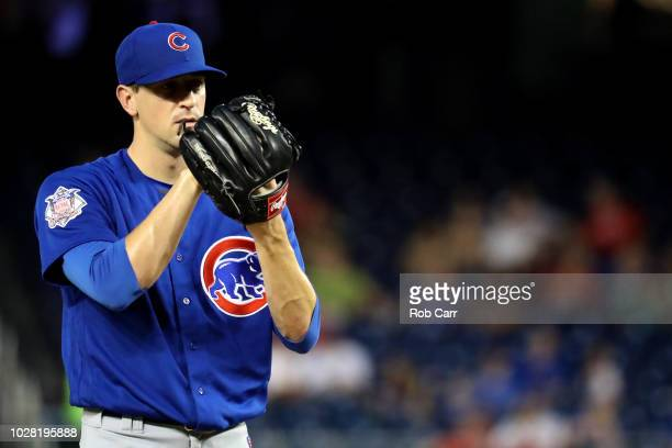 Starting pitcher Kyle Hendricks of the Chicago Cubs throws to a Washington Nationals batter in the second inning at Nationals Park on September 6...