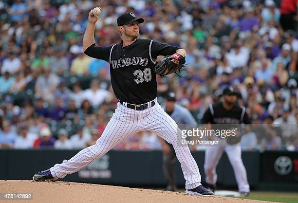 Starting pitcher Kyle Kendrick of the Colorado Rockies delivers against the Miami Marlins at Coors Field on June 7, 2015 in Denver, Colorado.