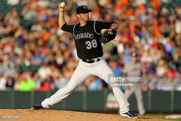 Starting pitcher Kyle Kendrick of the Colorado Rockies delivers to home plate in the third inning against the Houston Astros during Interleague play...