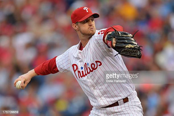 Starting pitcher Kyle Kendrick of the Philadelphia Phillies delivers a pitch against the Chicago Cubs at Citizens Bank Park on August 6, 2013 in...