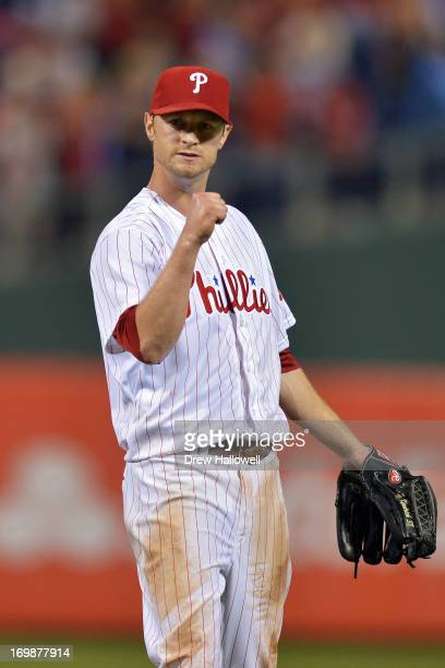 Starting pitcher Kyle Kendrick of the Philadelphia Phillies celebrates pitching a full game and beating the Miami Marlins 72 at Citizens Bank Park on...