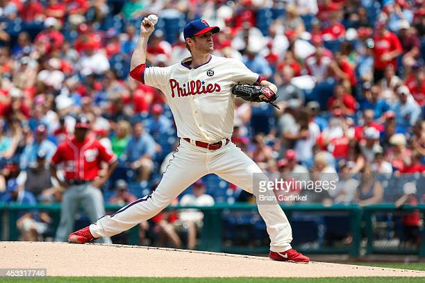 Starting pitcher Kyle Kendrick of the Philadelphia Phillies throws a pitch during the game against the Washington Nationals at Citizens Bank Park on...