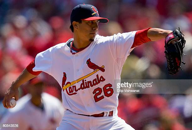 Starting pitcher Kyle Lohse of the St. Louis Cardinals throws against the Washington Nationals at Busch Stadium April 6, 2008 in St. Louis, Missouri....