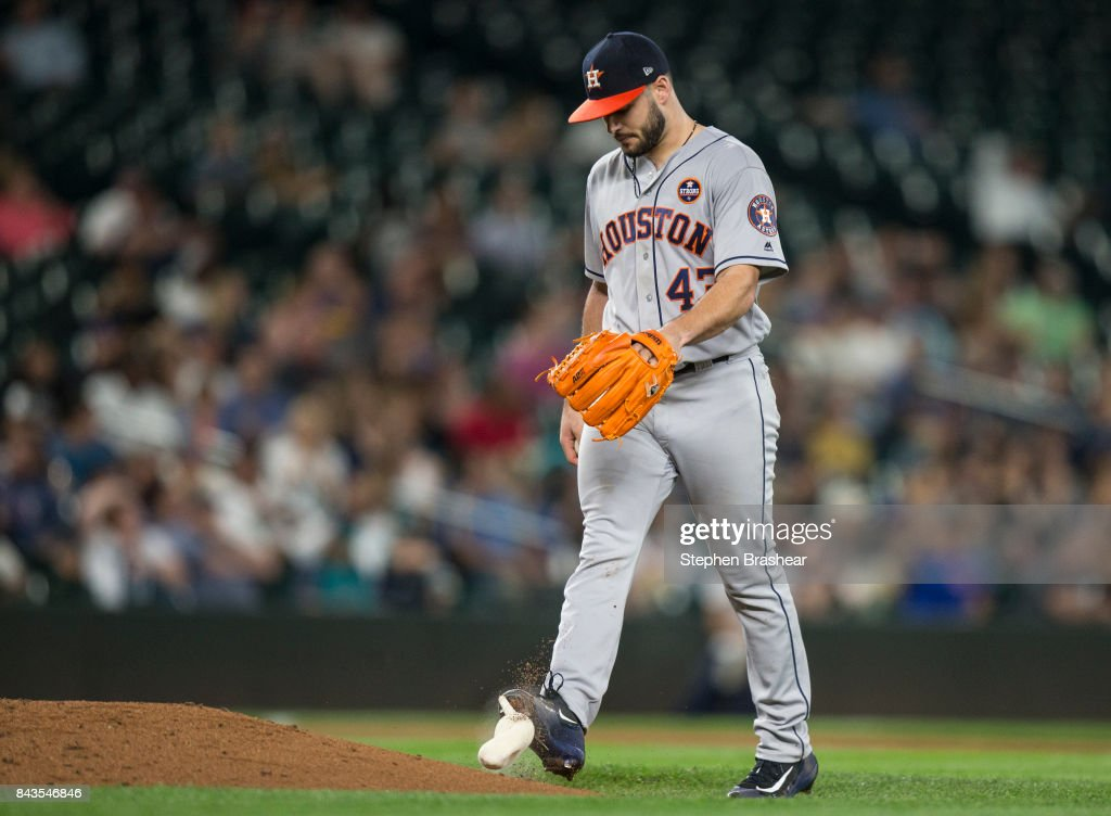 Starting pitcher Lance McCullers Jr. of the Houston Astros kicks the rosin bag after giving up a run during the sixth inning of a game against the Seattle Mariners at Safeco Field on September 6, 2017 in Seattle, Washington.