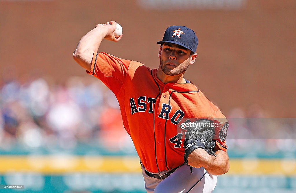 Starting pitcher Lance McCullers #43 of the Houston Astros pitches in the first inning of the game against the Detroit Tigers on May 23, 2015 at Comerica Park in Detroit, Michigan.