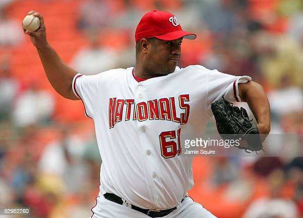 Starting pitcher Livan Hernandez of the Washington Nationals pitches during the 1st inning against Milwaukee Brewers on May 19, 2005 at RFK Stadium...