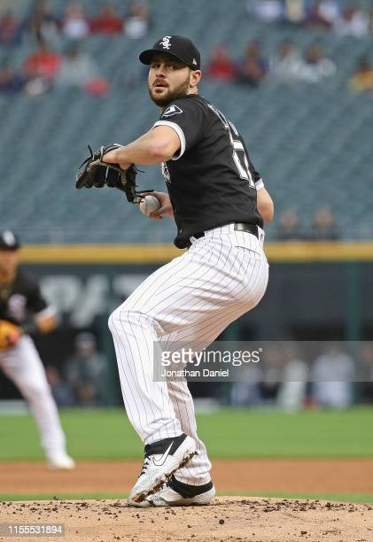 Starting pitcher Lucas Giolito of the Chicago White Sox delivers the ball against the Kansas City Royals at Guaranteed Rate Field on May 28, 2019 in...