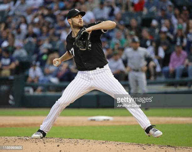 Starting pitcher Lucas Giolito of the Chicago White Sox delivers the ball against the New York Yankees at Guaranteed Rate Field on June 14, 2019 in...