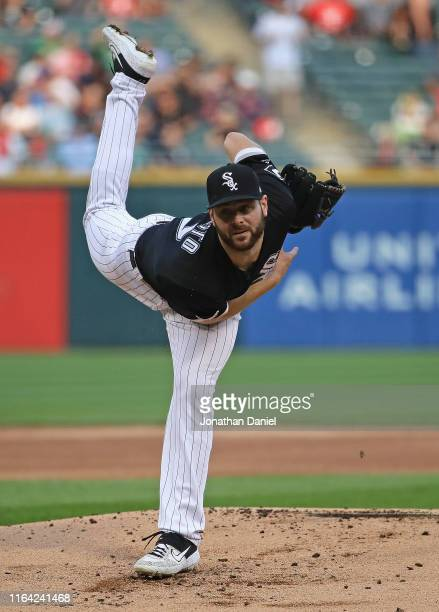 Starting pitcher Lucas Giolito of the Chicago White Sox delivers the ball against the Minnesota Twins at Guaranteed Rate Field on July 25, 2019 in...