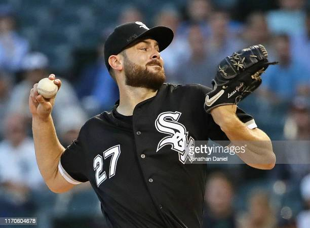 Starting pitcher Lucas Giolito of the Chicago White Sox delivers the ball against the Minnesota Twins at Guaranteed Rate Field on August 27, 2019 in...
