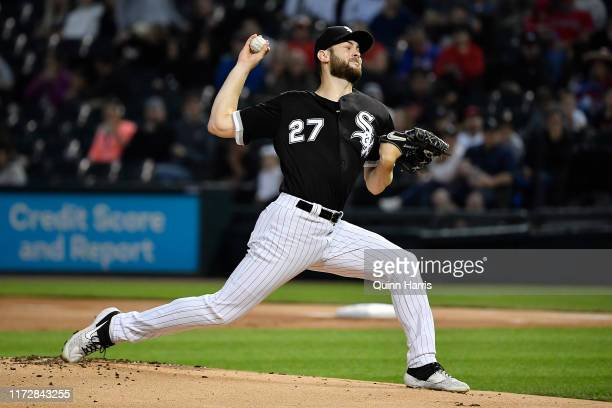 Starting pitcher Lucas Giolito of the Chicago White Sox delivers the ball in the first inning against the Los Angeles Angels of Anaheim at Guaranteed...