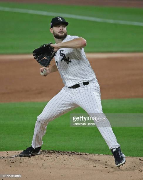 Starting pitcher Lucas Giolito of the Chicago White Sox delivers the ball against the Detroit Tigers at Guaranteed Rate Field on September 11, 2020...