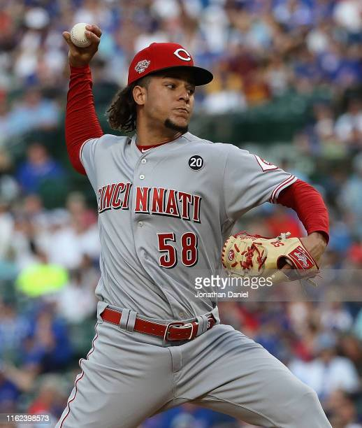 Starting pitcher Luis Castillo of the Cincinnati Reds delivers the ball against the Chicago Cubs at Wrigley Field on July 15 2019 in Chicago Illinois