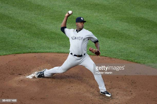 Starting pitcher Luis Severino of the New York Yankees delivers a pitch in the first inning during a game against the Philadelphia Phillies at...