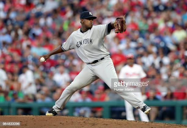 Starting pitcher Luis Severino of the New York Yankees throws a pitch in the fourth inning during a game against the Philadelphia Phillies at...