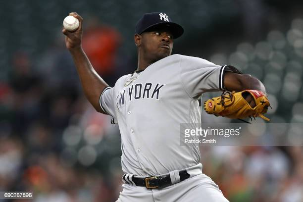 Starting pitcher Luis Severino of the New York Yankees works the first inning against the Baltimore Orioles at Oriole Park at Camden Yards on May 30...