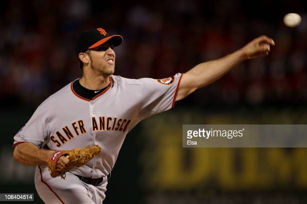 Starting pitcher Madison Bumgarner of the San Francisco Giants pitches against the Texas Rangers in Game Four of the 2010 MLB World Series at Rangers...