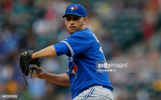 Starting pitcher Marco Estrada of the Toronto Blue Jays pitches against the Seattle Mariners at Safeco Field on July 24 2015 in Seattle Washington