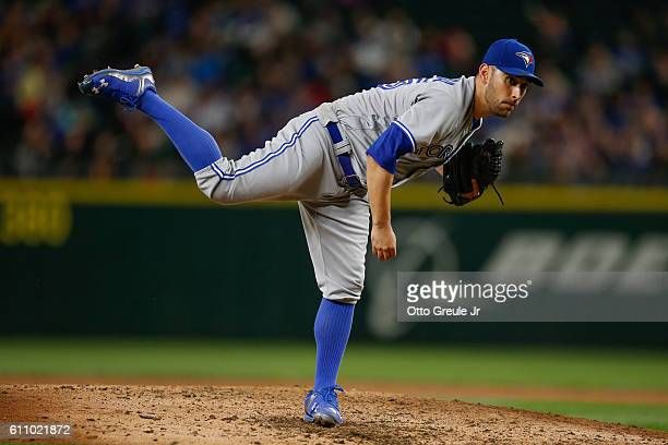 Starting pitcher Marco Estrada of the Toronto Blue Jays pitches against the Seattle Mariners at Safeco Field on September 19 2016 in Seattle...