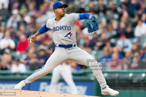 Starting pitcher Marcus Stroman of the Toronto Blue Jays pitches during the first inning against the Cleveland Indians at Progressive Field on April...