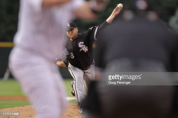 Starting pitcher Mark Buehrle of the Chicago White Sox delviers against the Colorado Rockies during Interleague play at Coors Field on June 29 2011...
