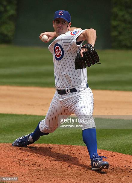 Starting pitcher Mark Prior of the Chicago Cubs delivers a pitch against the St Louis Cardinals June 9 2004 at Wrigley Field in Chicago Illinois The...