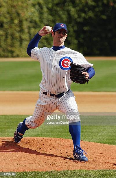 Starting pitcher Mark Prior of the Chicago Cubs delivers the ball against the Pittsburgh Pirates during the first game of a double-header on...