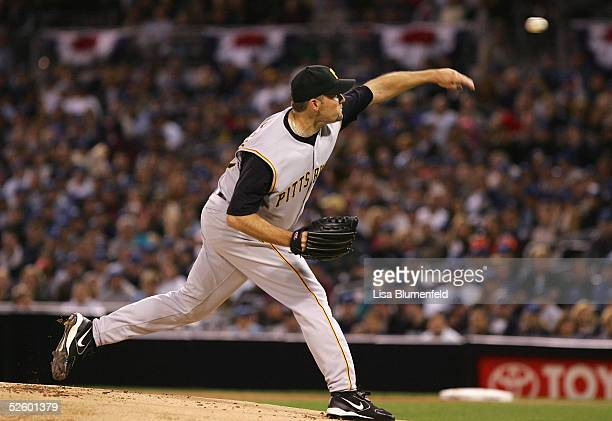 Starting pitcher Mark Redman of the Pittsburgh Pirates pitches in the first inning of the MLB game against the San Diego Padres on April 7 2005 at...