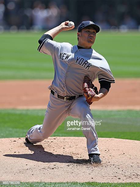 Starting pitcher Masahiro Tanaka of the New York Yankees delivers the ball against the Chicago White Sox at US Cellular Field on May 25 2014 in...